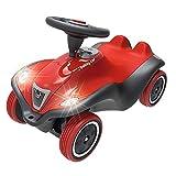 BIG - Bobby Car Next - Deluxe Variante, Kinderfahrzeug mit LED-Front Scheinwerfer, Flüsterreifen und weichem Sitz, belastbar bis zu 50kg, Rutschfahrzeug für Kinder ab 1 Jahr, rot